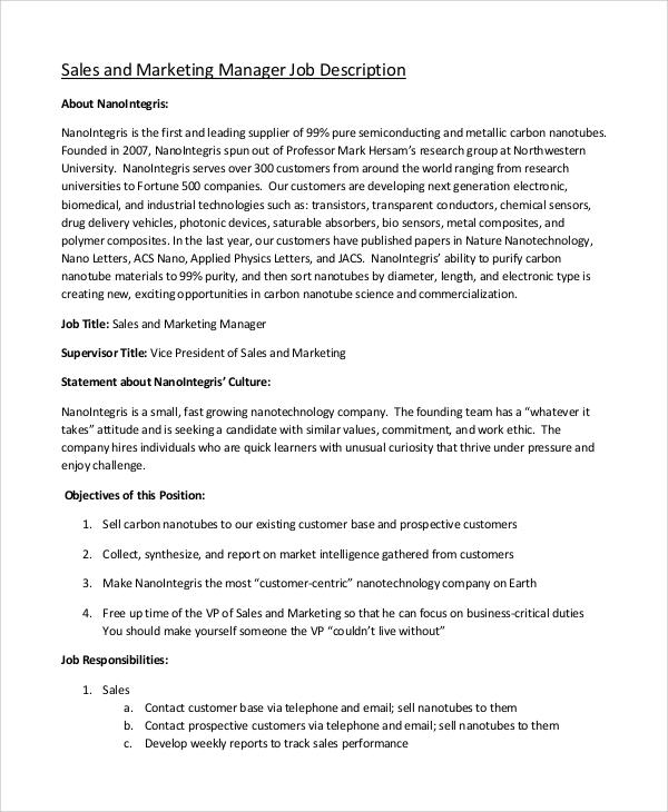 9+ Marketing Job Description Samples Sample Templates - sales and marketing job description