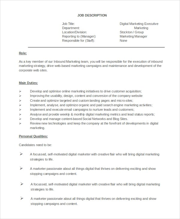Digital Marketing Job Description Social Media Manager Resume Marketing Job  Description   Media Manager Job Description