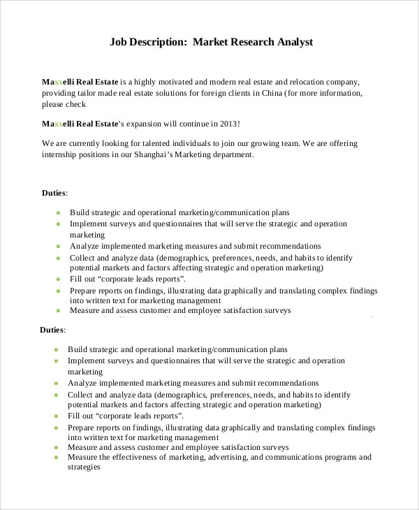 Market research analysts job description