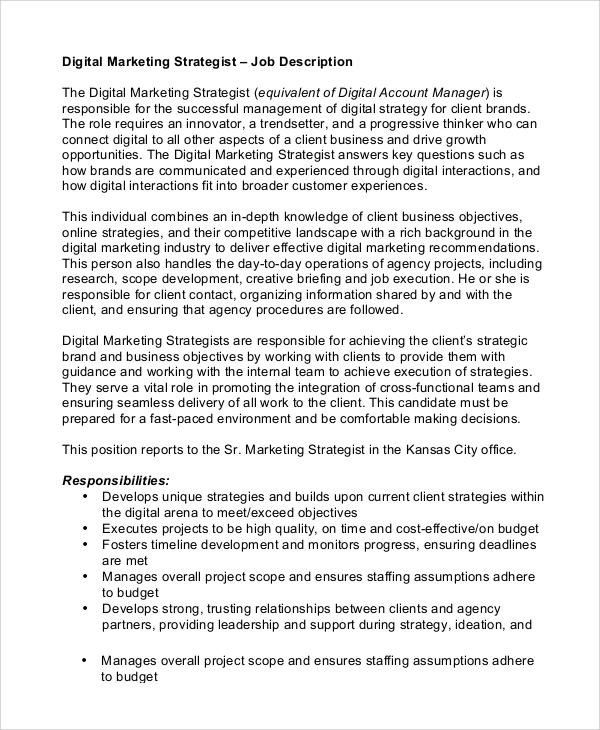 9+ Marketing Job Description Samples Sample Templates - digital marketing job description