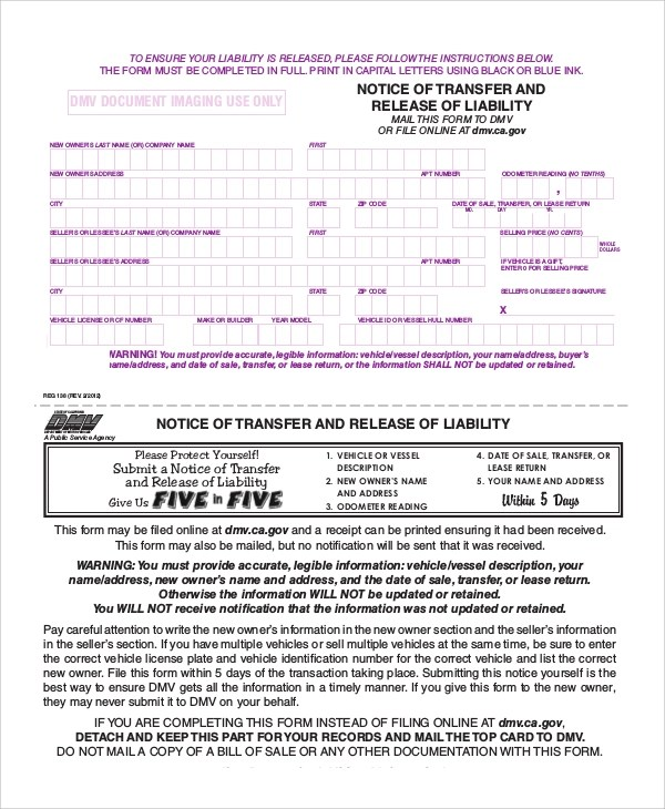 8+ Sample Liability Release Forms Sample Templates