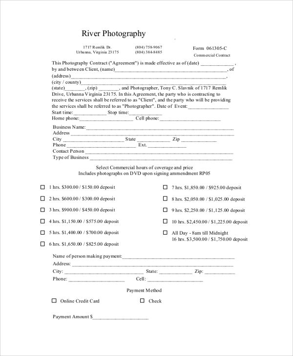 photography contract sample