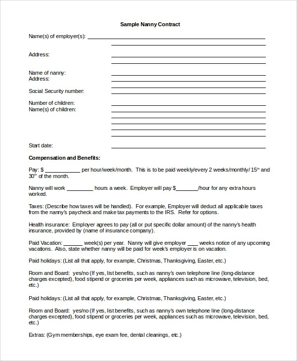 nanny contract template word - Forteeuforic