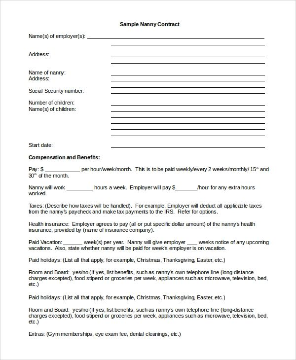 nanny contract example