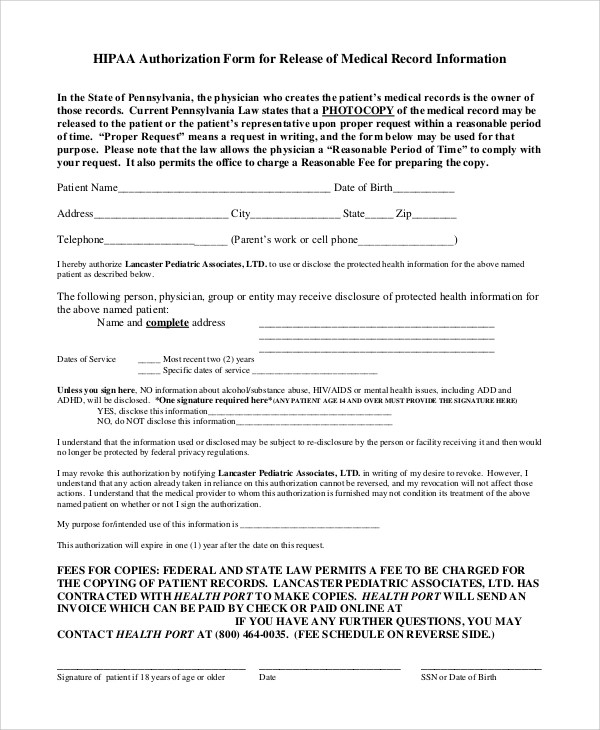 Medical Release Form Generic | Internal Application Letter Example