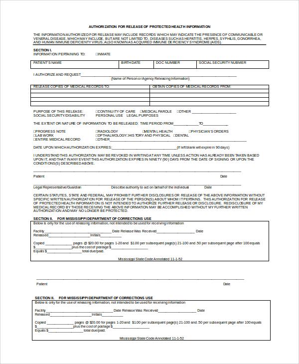 Doc#585500 Sample Medical Records Release Form u2013 Medical Records - sample medical records release form