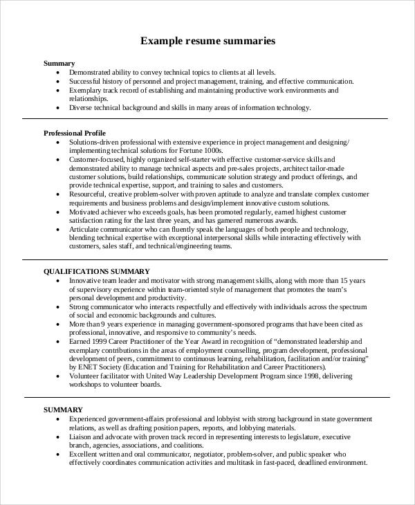 sample executive summaries resume
