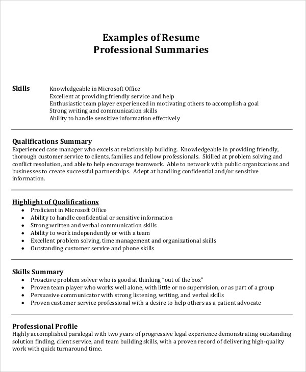 8+ Summary For Resume Samples Sample Templates - professional synopsis for resume