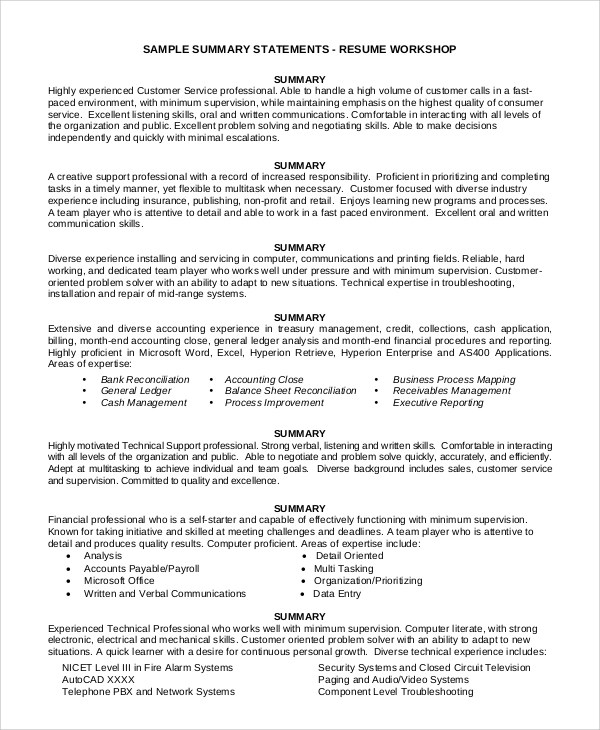Sample Summary For Resume - 8+ Examples in Word, PDF