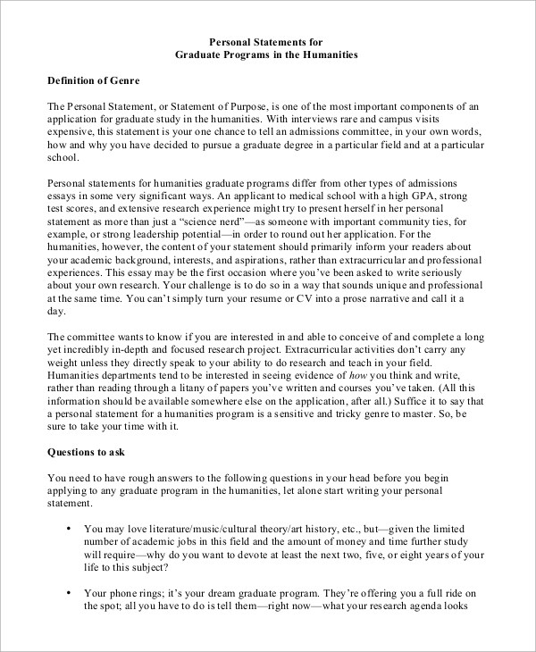 8+ Personal Statement Samples Sample Templates