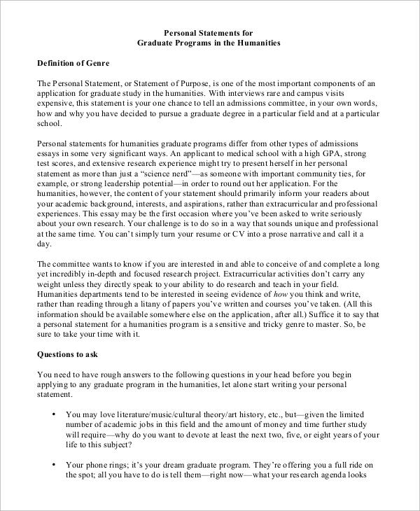 11 personal statement grad school examples