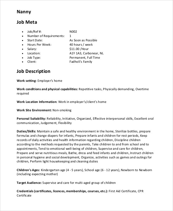 Nanny Responsibilities On Resume  Nanny Job Description Resume