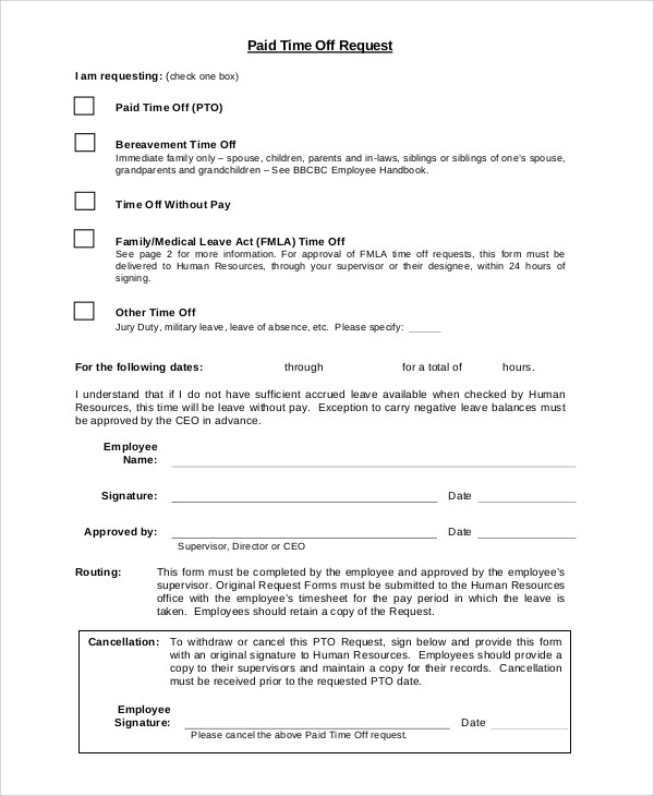 8+ Sample Time Off Request Forms Sample Templates - time off request form sample