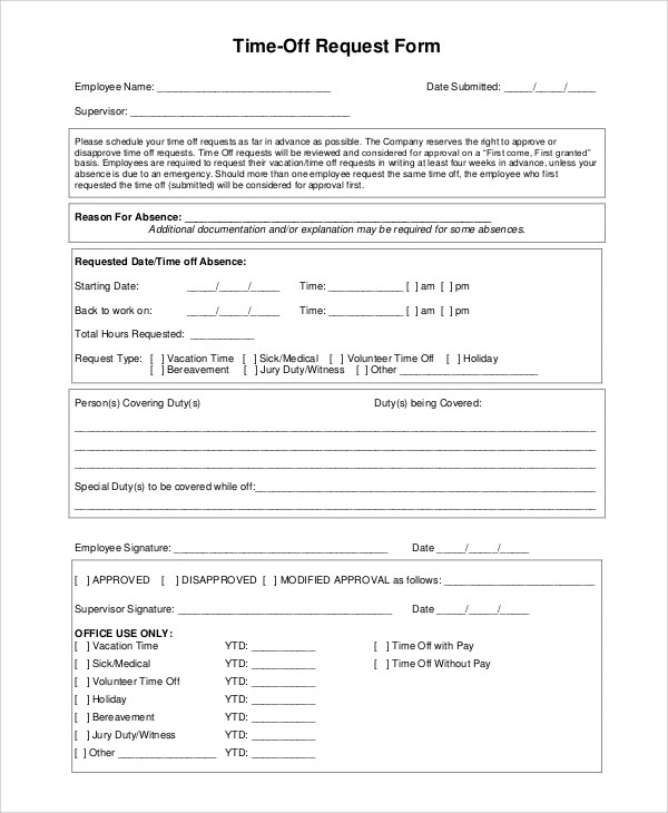 free time off request form - solarfm - request for time off form