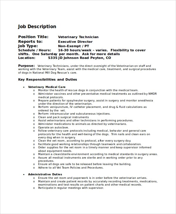 Sample Veterinarian Job Description - 8+ Examples in PDF, Word - surgical tech job description
