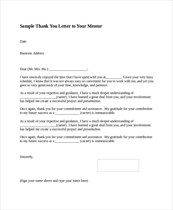 Sample Thank You Letter Format - 8+ Examples in Word, PDF
