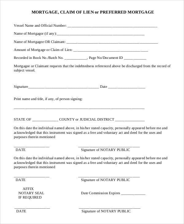 9+ Sample Lien Release Forms Sample Templates - satisfaction of mortgage form