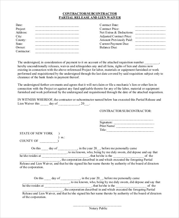 ... Contract Release Form Partial Release And Lien Waiver Form Sample ...