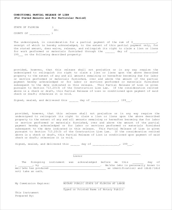 ... Sample Conditional Release Form Unconditional Waiver Upon   Release Of  Lien ...