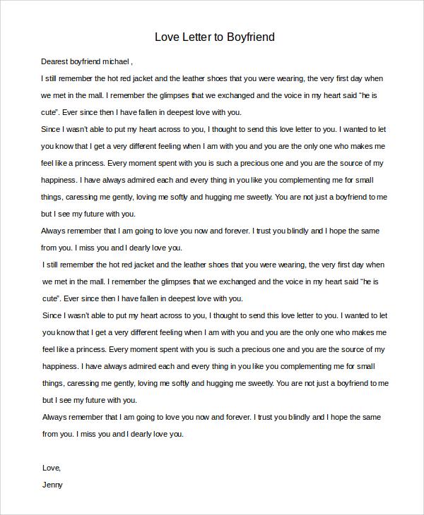 7+ Sample Love Letters to Boyfriend Sample Templates - love letter to boyfriend