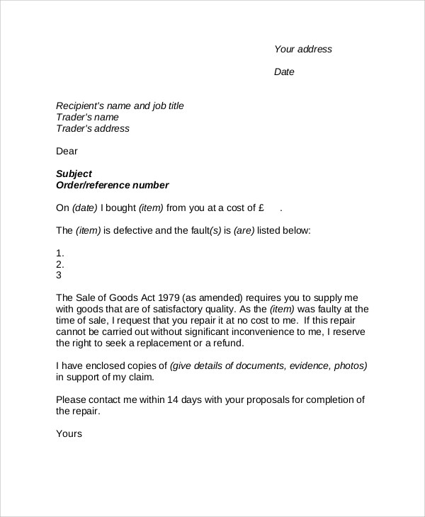 9+ Sample Complaint Letters Sample Templates - product complaint letter sample