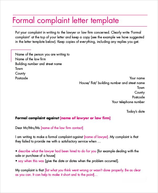 7+ Complaint Letter Examples Sample Templates - Proper Complaint Letter Format