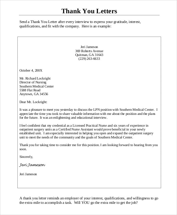 sample thank you letter after an interview