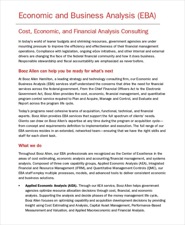 examples of business analysis