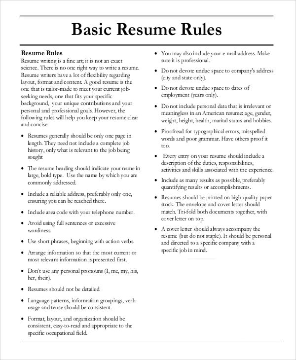 examples of basic resumes