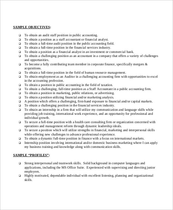 objective for resume examples