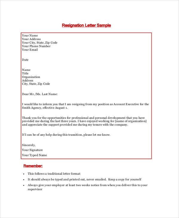 how do you write a resignation letter sample