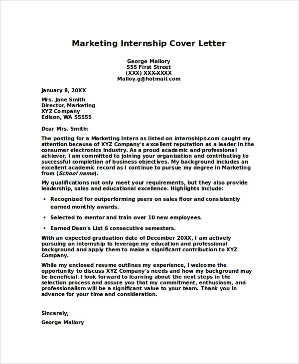 cover letter for unadvertised internship online degrees essay intern cover letter marketing intern cover letter