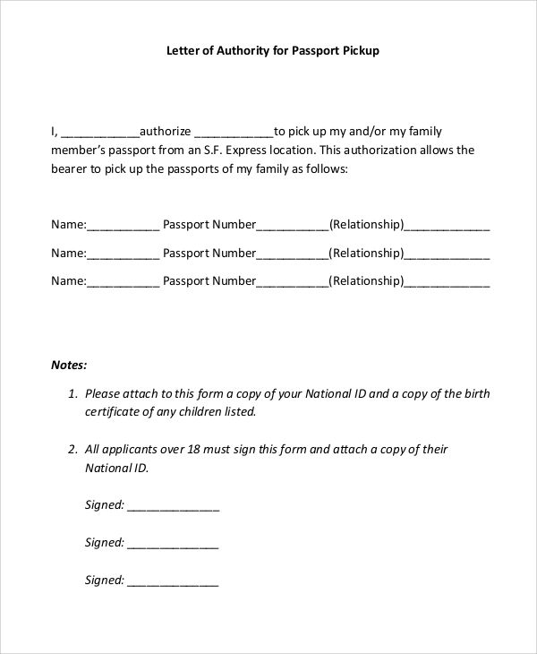 authorize letter for pick up
