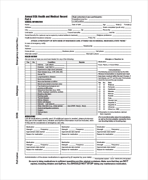 sample BSA Health Form - 8+ Examples in PDF - bsa medical form