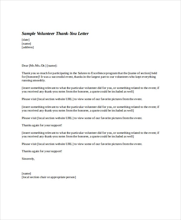event volunteer cover letter - 28 images - leading professional - volunteer thank you letter