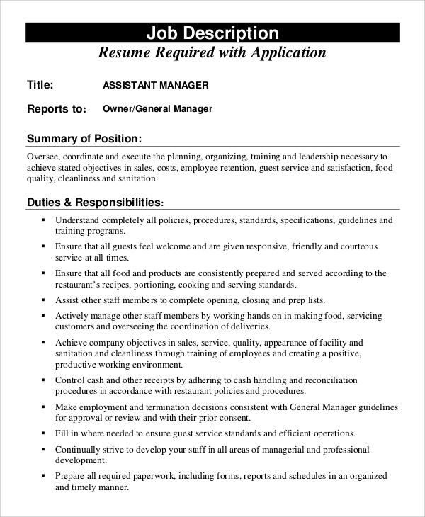 Sample Assistant Manager Job Description - 10+ Examples in PDF, Word