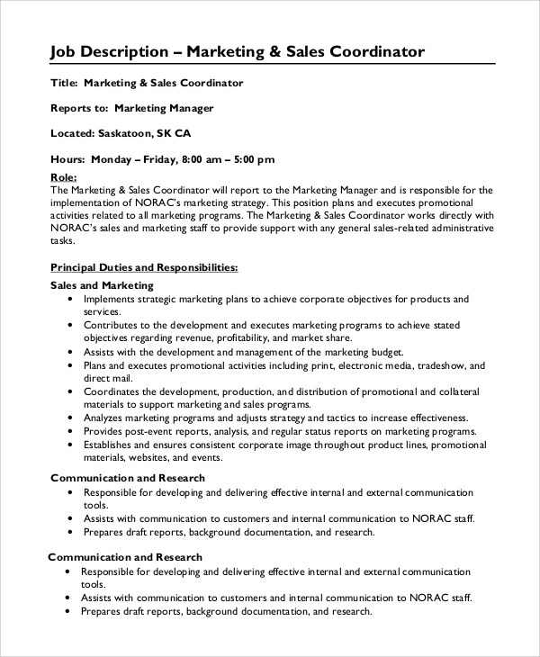 9+ Marketing Coordinator Job Description Samples Sample Templates