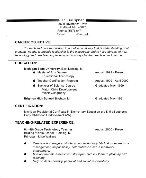 8+ Sample Teaching Resumes Sample Templates - sample technology teacher resume