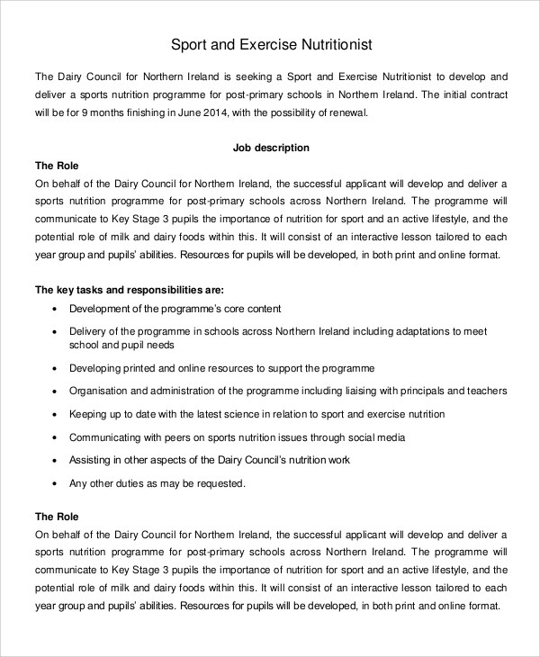9+ Nutritionist Job Description Samples Sample Templates - nutritionist job description