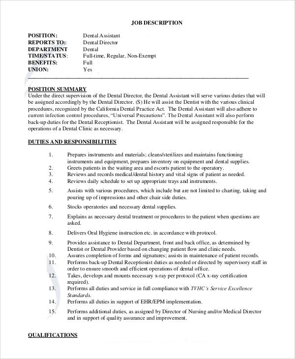 8+ Dental Assistant Job Description Samples Sample Templates - dental assistant job description