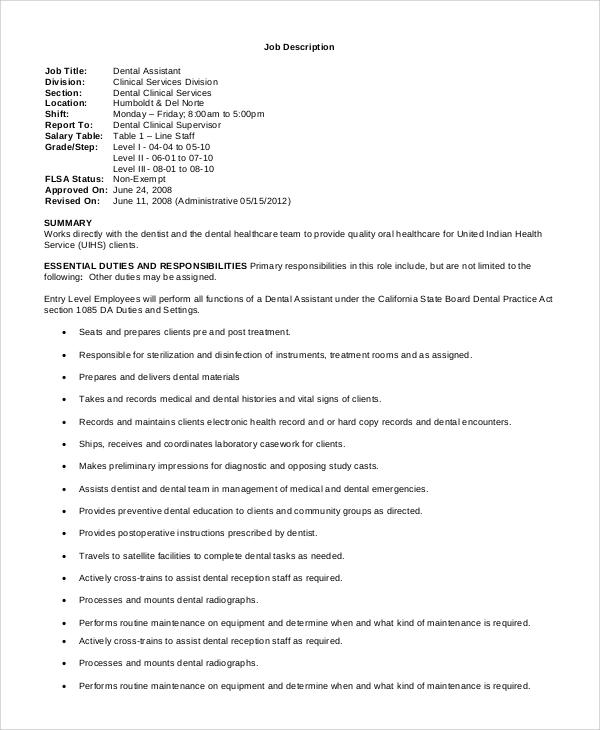 8+ Dental Assistant Job Description Samples Sample Templates - medical assistant job description