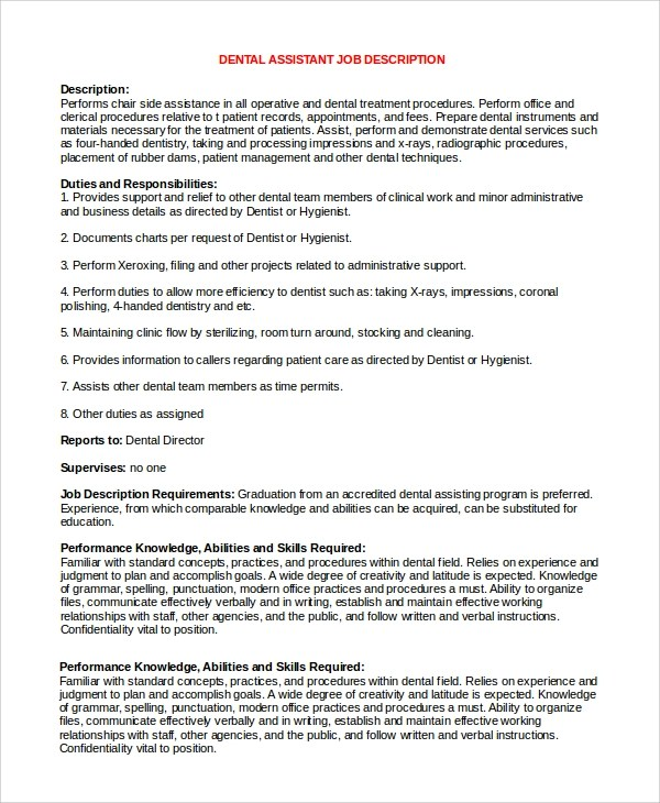 8+ Dental Assistant Job Description Samples Sample Templates