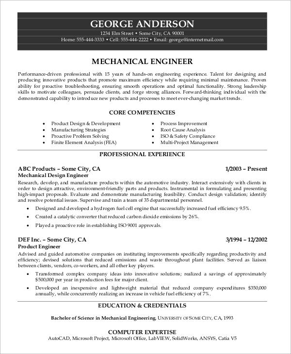 Sample Engineer Resume - 9+ Examples in Word, PDF