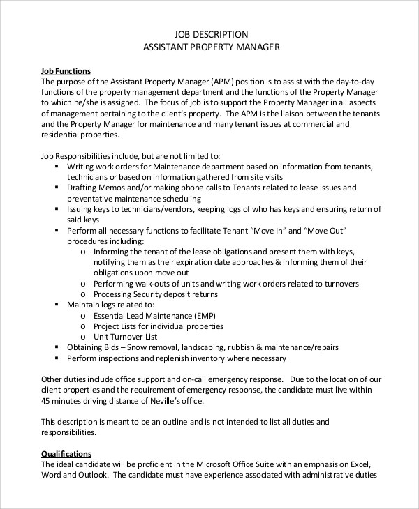 9+ Property Manager Job Description Samples Sample Templates - property manager job description