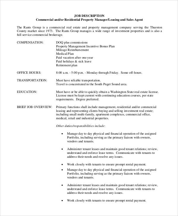 commercial property manager job description