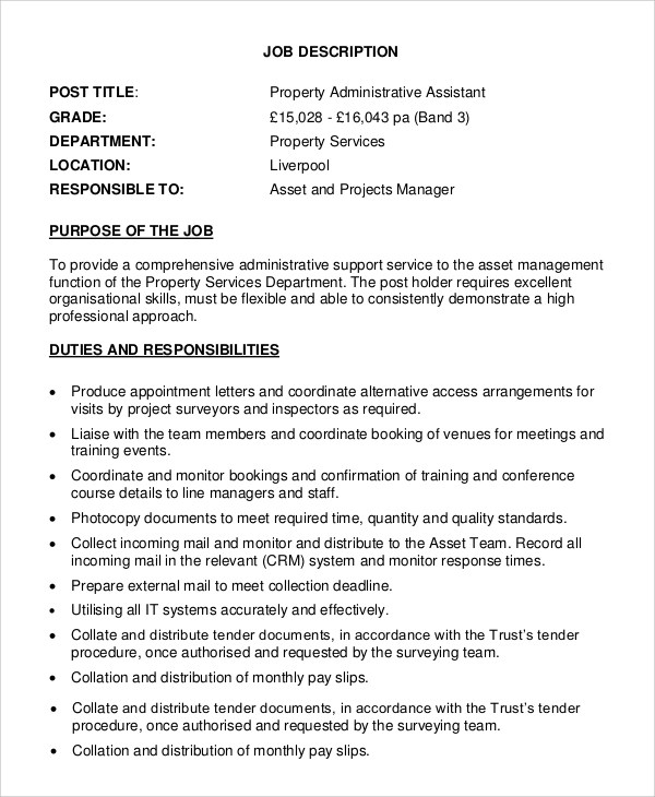 9+ Property Manager Job Description Samples Sample Templates