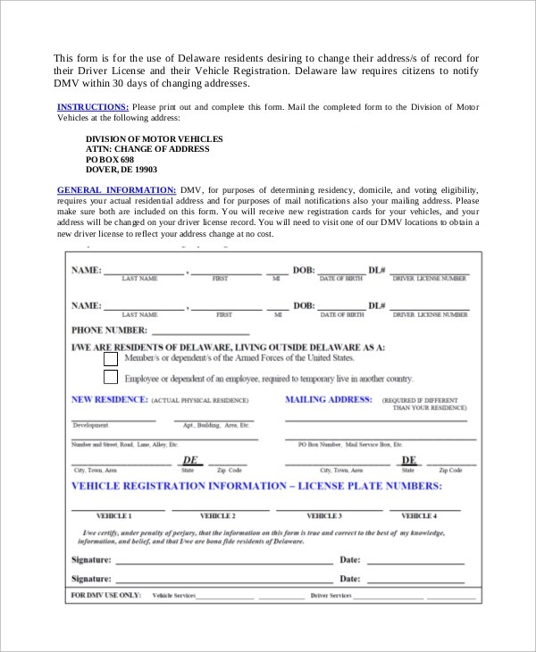 Change Of Address Printable Form - Arch-times - Printable Address Change Form