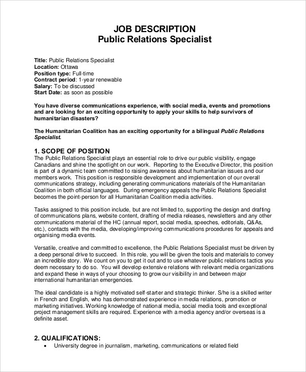 8+ Public Relations Job Description Samples Sample Templates