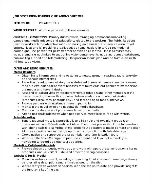 8+ Public Relations Job Description Samples Sample Templates - public relations job description