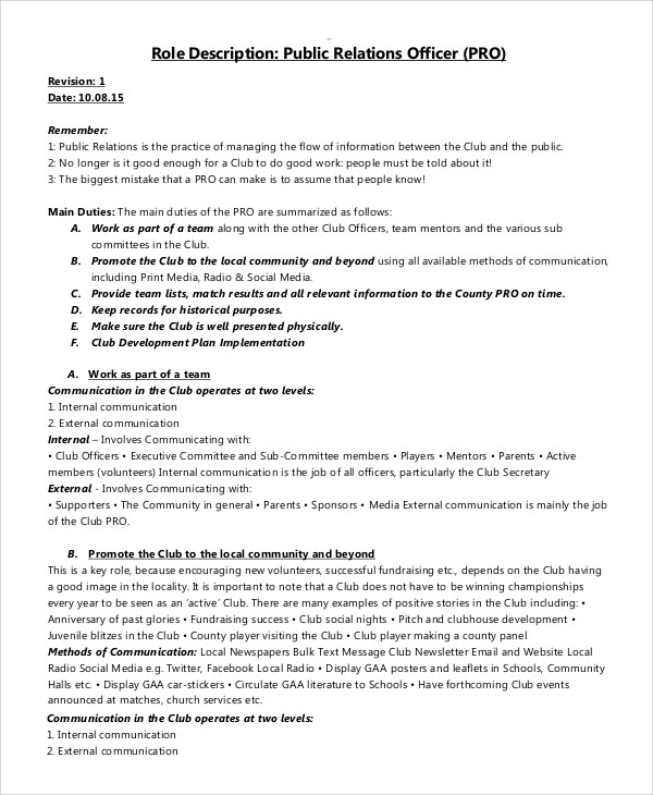 Public Relations Job Description Fashion Pr Resume Print Public - guest relation officer sample resume